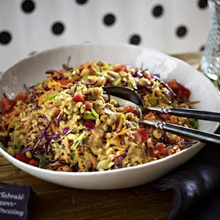 Bulgur Salad with Ginger and Peanut Dressing.