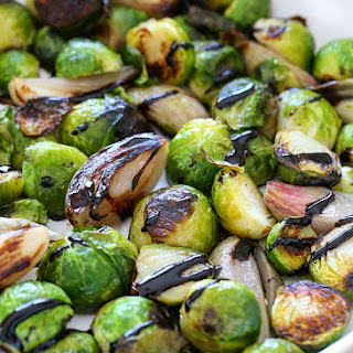 Roasted Brussel Sprouts and Shallots w/ Balsamic Glaze