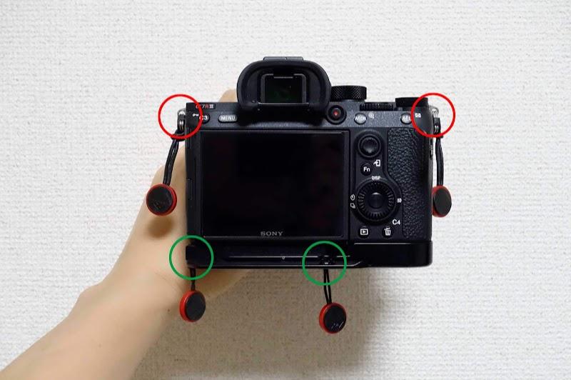 カメラストラップの標準取り付け位置