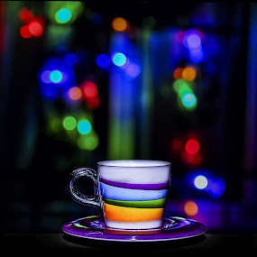 Coffee night by Romano Alberto Basso - Abstract Light Painting ( cup, lights, coffe, night, bokeh )