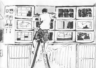 Photo: 電視牆2012.10.23鋼筆 監獄的硬體設施通常都由雜役來安裝和維修,看著由自己親手安裝卻用來監視自己的監視器,不知他們心中是什麼樣的滋味呢?