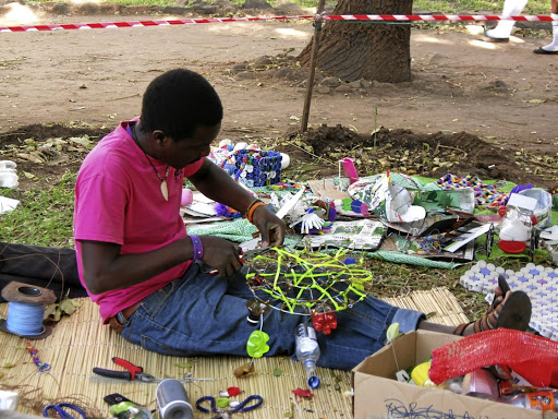 An artist creates artwork from waste products in Livingstone, one of the world's most deforested towns. Cape Town's Heath Nash is at the centre of the project. Picture: STRUAN DOUGLAS