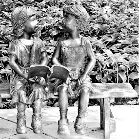 Children on a  Bench by Allen Wright - Artistic Objects Other Objects