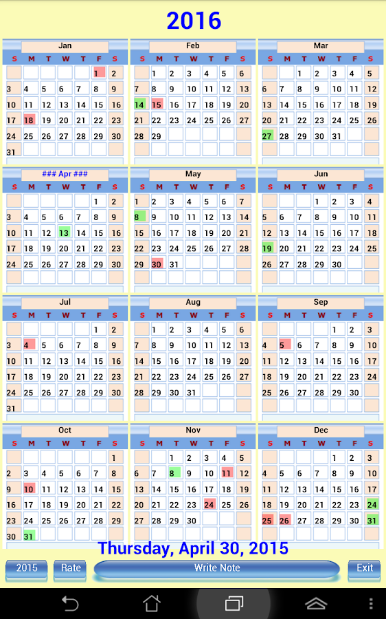 us calendar note 2015 2016 android apps on google play