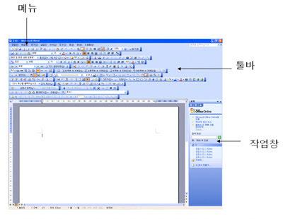 워드 2003의 메뉴, 툴바, 작업창