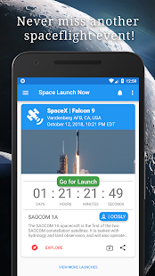 Space Launch Now - Watch SpaceX, NASA, etc...live! Screenshot