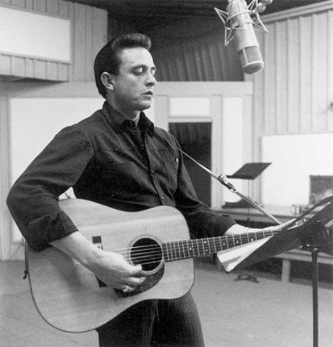 "Johnny Cash in 1958 recording ""I Still Miss Someone"" in the Quonset Hut."