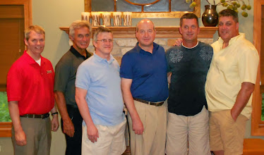 Photo: Chicago suburbs gathering: Dave Peters, Abbot Michael '68, Dan Sylvester '84, Patrick Sylvester '83, Tim Wilcox '83 and Joe Hettinger '83