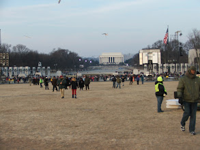 Photo: But even at 8am there are people gathering around the jumbo-tron on 17th St behind the Washington Monument.