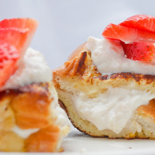 Rhubarb Strawberry Stuffed French Toast.