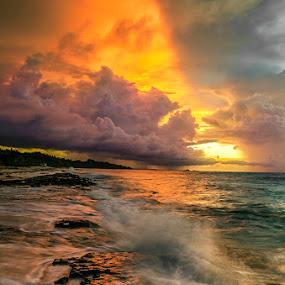 Almost Unreal by Sonny Saban - Landscapes Sunsets & Sunrises ( travel.waves, rote, cloud, stone, dusk )