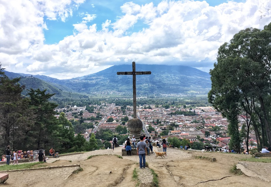 In the past a hike up to Cerro Cruz would risk getting mugged, but now security guards patrol the route. On a nice afternoon, a lot of local tourists and families can be found enjoying the view of Antigua with Volcan Agua looming above it.