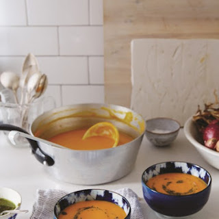 Creamy Roasted Carrot Soup with Pine Nut + Caper Topping