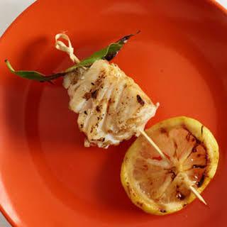 Grilled Halibut, Bay Leaf, and Lemon Kebabs.