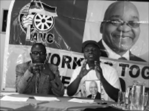 WE'LL WIN ALL: ANCYL's Hamzer Ngwenya and Isaac Mahlangu at a press conference yesterday. 11/02/09. © Unknown.
