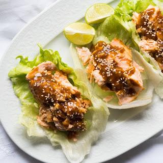 Gluten Free, Paleo & Keto Teriyaki Salmon Lettuce Wraps.