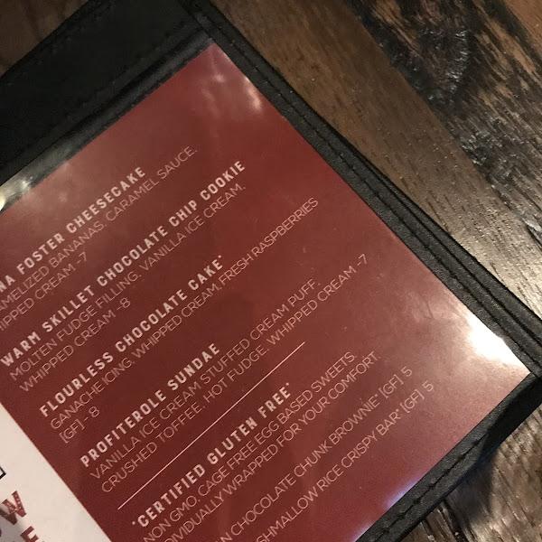 Dessert menu with Certified GF desserts