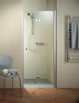 Porte de douche pivotante-pliante en niche, 75, 80 ou 90 cm