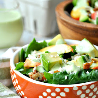 Southern Peach Salad with Green Goddess Dressing.