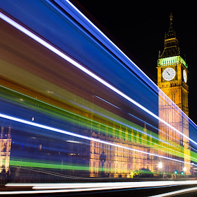 Big Ben light trails by Morné Du Plooy - Travel Locations Landmarks ( bus, london, light trails, night, big ben )