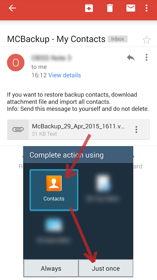 MCBackup - My Contacts Backup – Capture d'écran