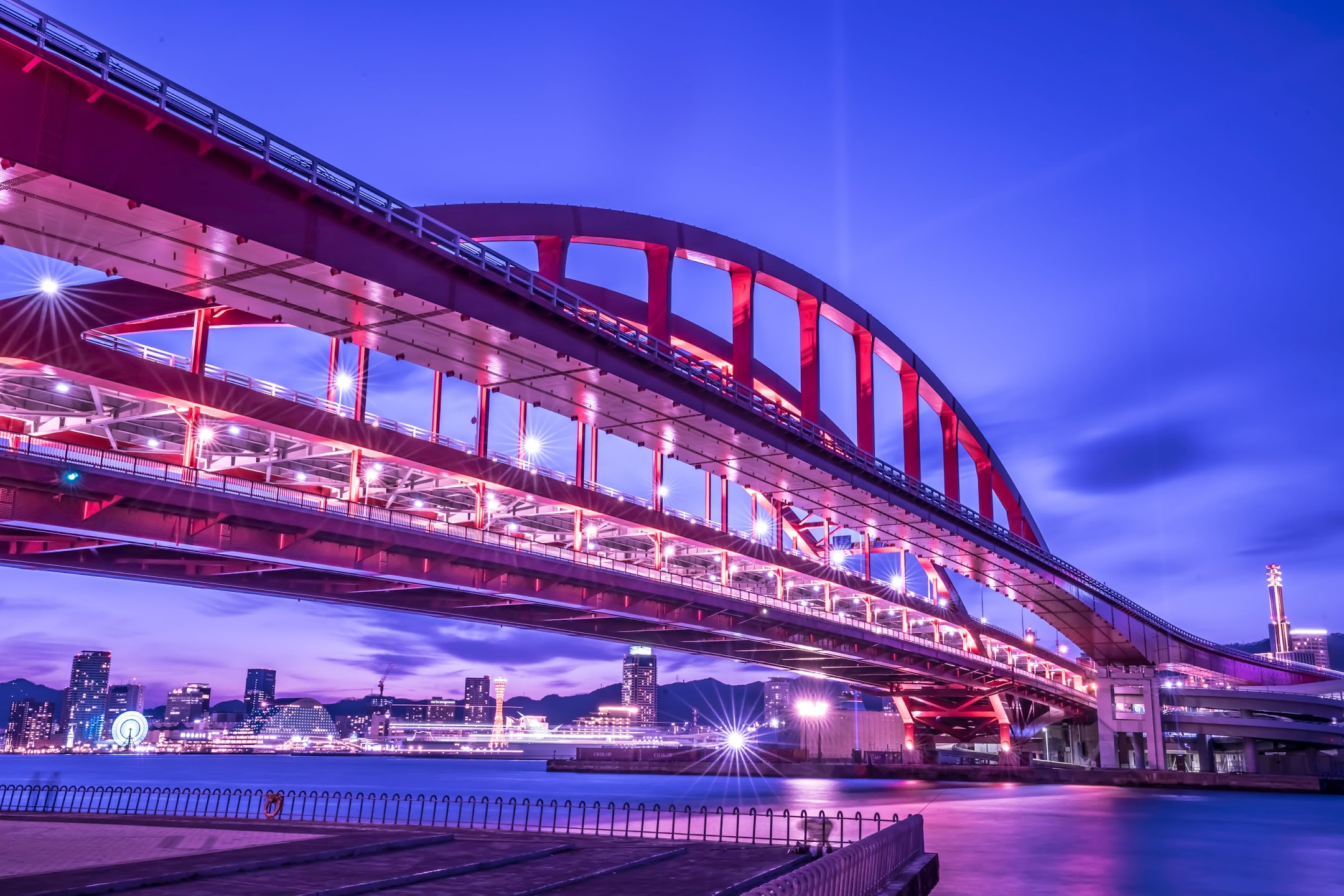Kobe Great Bridge light-up4