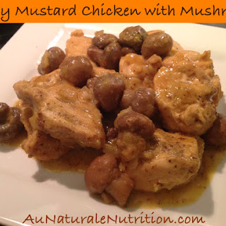 Oven Baked Honey Mustard Chicken with Mushrooms.