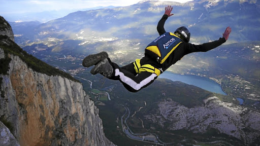 Adrenaline rush: Jumping off cliffs is part of base jumping, the riskiest form of skydiving. A climbing instructor at London's The Reach indoor climbing centre agrees with sports psychologists who say high-risk sports are an excellent form of fear management training. Picture: SUPPLIED