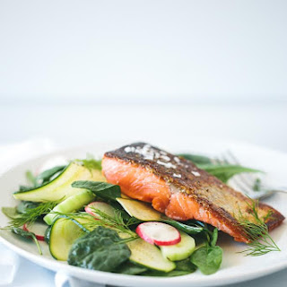 Crispy Skin Salmon with Zucchini, Cucumber and Dill Salad.