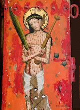 Photo: Darstellung (14. Jahrhundert ?) des Schmerzensmann (mit Folterinstrumenten) auf der Tür des Sakramentsschrankes in der Dorfkirche zu Bernitt