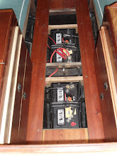 Photo: Sous la semelle la banque batteries 24V propulsion Under the floorboards the 24v battery bank for propulsion