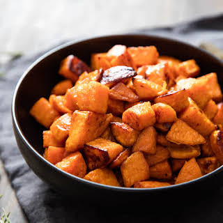 Brown Butter Rosemary Roasted Sweet Potatoes.