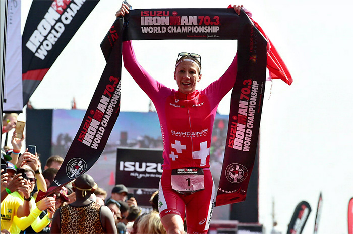 1 September 2018 - Four-time 70.3 world champion Daniela Ryf after winning the women's event