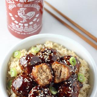 Healthy 30 Minute Sriracha Teriyaki Meatball Bowls.