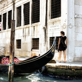 Waiting for the Gondolier by Russ Quinlan - City,  Street & Park  Street Scenes ( gondola, girl, woman, gondolier, street, venice, lady )