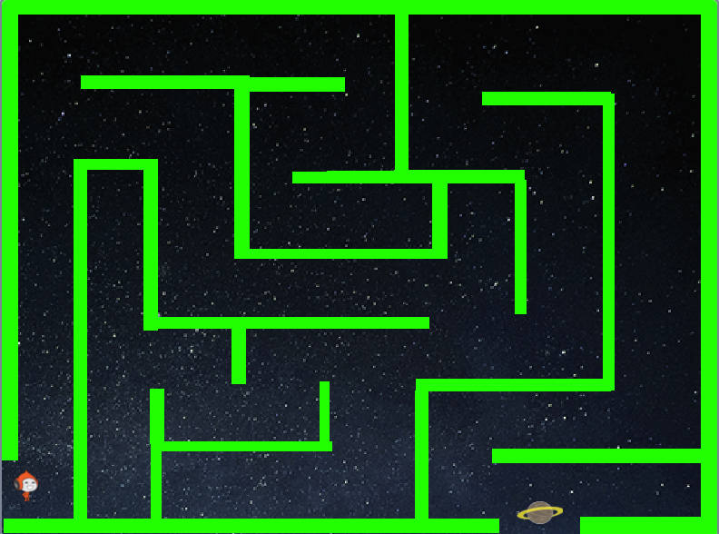 maze in green, with a space background displayed in scratch