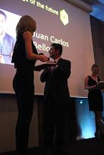 "Photo: Anna Lukanina, presenting teh C4F award ""Image of the Future"" to the winner Juan Belloso"