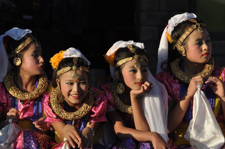 Sweet girls by Pema Wangdi  Lepcha - People Musicians & Entertainers ( girls, people, dance, women )