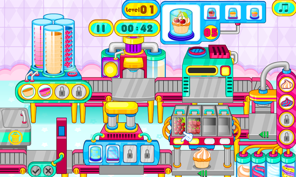Cooking cupcakes factory Android App Screenshot