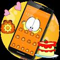 Orange Cartoon Cute Lazy Cat Theme icon