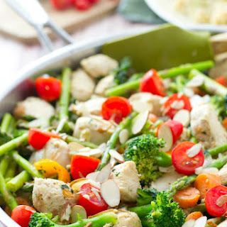 Chicken Asparagus Stir-Fry with Cherry Tomatoes + Toasted Almonds.