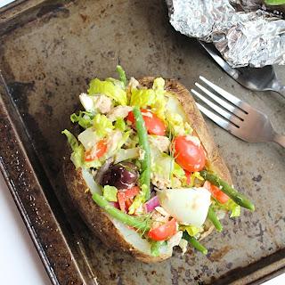 Healthy Tuna Nicoise Stuffed Baked Potatoes.