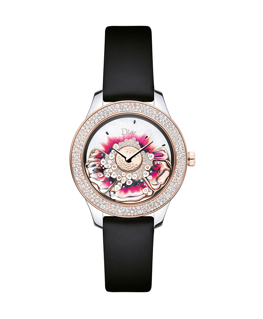 Dior Grand Bal Miss Dior. 36mm automatic – Steel, pink gold, diamonds and mother-of-pearl. Limited edition of 88 pieces.