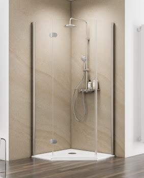 Paroi de douche pentagonale, jusqu'à 120 cm