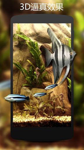 3D清新水族馆动态壁纸-逼真的热带鱼 海马高清水族馆动态壁纸