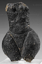 Photo: Fragment of a human clay figure.  Early Middle-Neolithic; from the circular ditches at Kamegg, Lower Austria.