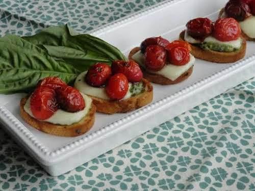 """Bruschetta Roasted Tomato Mozzarella Appetizer""""I love mozzarella and tomatoes. This is a..."""