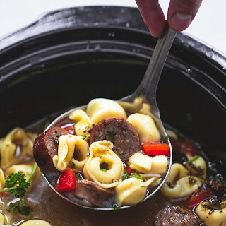 Slow Cooker Italian Sausage Tortellini Soup.
