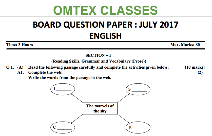Omtex classes english board paper ssc july 2017 english board paper ssc july 2017 ccuart Gallery
