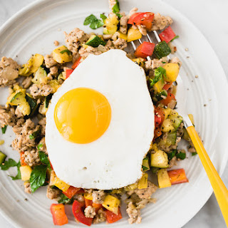 Ground Turkey Hash with Peppers and Squash.